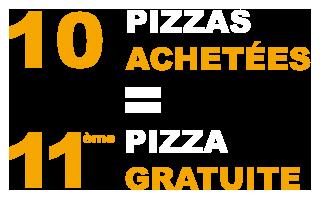 10 pizzas achetées la 11ème gratuite